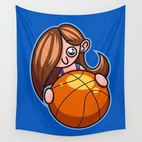 basketball Wall Tapestries featuring Basketball Player by Artistic Dyslexia