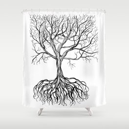 Bare tree with root Shower Curtain