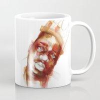 biggie smalls Mugs featuring Biggie  by Allison Kunath