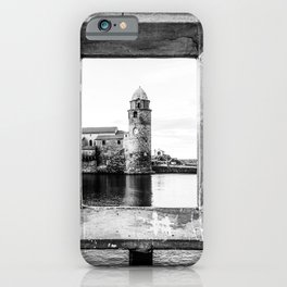 Picture Perfect | Black and White Collioure France Medieval Church Tower Scenic View Marina iPhone Case