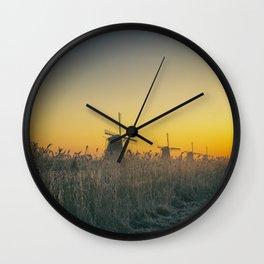 Sunrise at Kinderdijk III Wall Clock