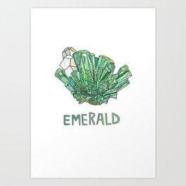 Emerald Gemstone / May Birthstone Watercolor Painting / Illustration Art Print
