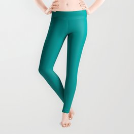 Turquoise Teal Solid  Leggings