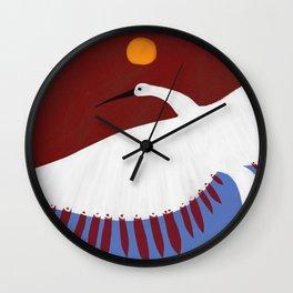 White Crane Ponders 2 Wall Clock