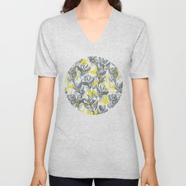 Leaf and Berry Sketch Pattern in Mustard and Ash Unisex V-Neck