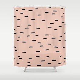 Peach dash abstract stripes pattern Shower Curtain