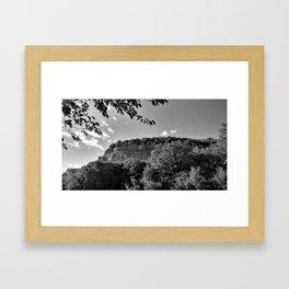 rock cliff at lim channel fjord istria croatia europe black white Framed Art Print