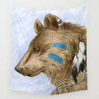 medicine Wall Tapestries featuring Medicine Bear by Brandy Woods