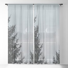 Half Moon   Nature and Landscape Photography Sheer Curtain