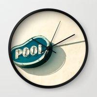 pool Wall Clocks featuring Pool by bomobob