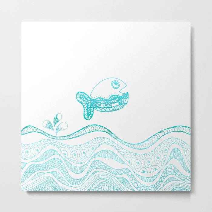 Doodle fish jumping out of the water-Maritime on #Society6 Metal Print