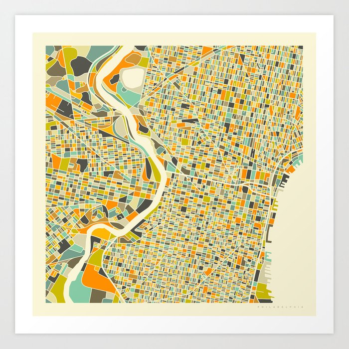 Philadelphia map art print by jazzberryblue society6 philadelphia map art print freerunsca Gallery