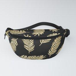 Gold Glitter Palms  |  Black Background Fanny Pack