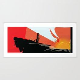 Samurai Sunset Art Print