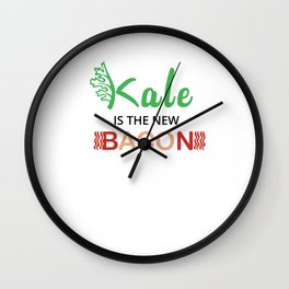 Kale is the new Bacon Kale Art for Vegans on Diet Light Wall Clock