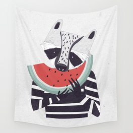 Raccoon eating watermelon Wall Tapestry