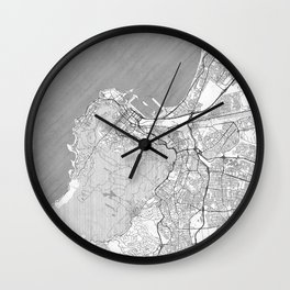 Cape Town Map Line Wall Clock