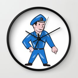 Police Officer Pointing Down Cartoon Wall Clock