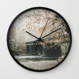 Bridge over Oconaluftee River in North Carolina Wall Clock
