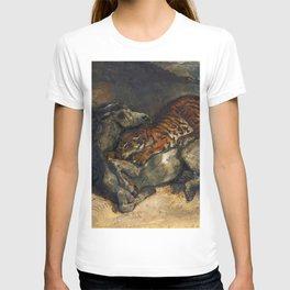 """Eugène Delacroix """"Tigre attaquant un cheval"""" T-shirt"""
