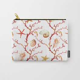 Shell & Coral Watercolor Pattern Carry-All Pouch