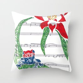 Coqui   (South American Poison Dart Frog with flower on sheet music) Throw Pillow