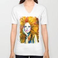 zodiac V-neck T-shirts featuring Leo Zodiac by Slaveika Aladjova