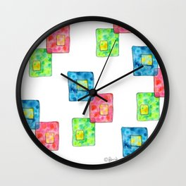 LIVE LOVE LAUGH geometric pattern illustration Watercolor Painting minimalism typography Wall Clock