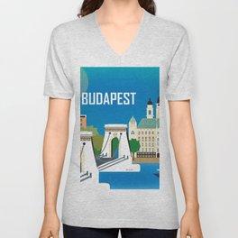 Budapest, Hungary - Skyline Illustration by Loose Petals Unisex V-Neck