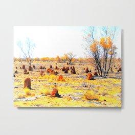 Termite mounds, outback Australia Metal Print