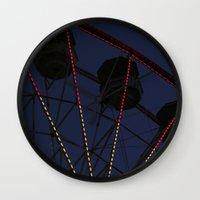 ferris wheel Wall Clocks featuring Ferris Wheel  by Yellow Tie