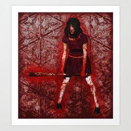 Linda - Blood-Soaked, Holding Bat Art Print