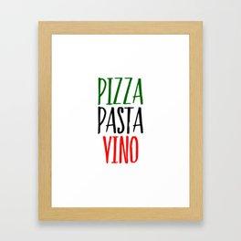 Pizza Pasta Vino Framed Art Print