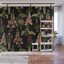 Vintage Botanical Springflowers And Herbs Midnight Garden Wall Mural