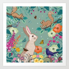 Hare, Squirrel & Blackbird Art Print
