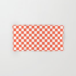 Jumbo Living Coral Color of the Year Orange and White Checkerboard Hand & Bath Towel
