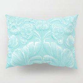 Robin Egg Blue Tooled Leather Pillow Sham