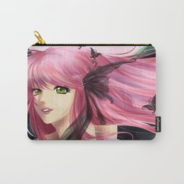 Pink and black fantasy - Anime manga girl with pink hair Carry-All Pouch