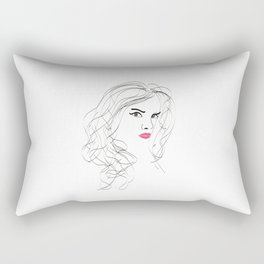 Mysterious girl - lines - portret - black and white Rectangular Pillow