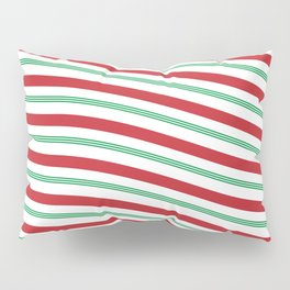 Red White and Green Christmas Candy Cane Pattern Pillow Sham