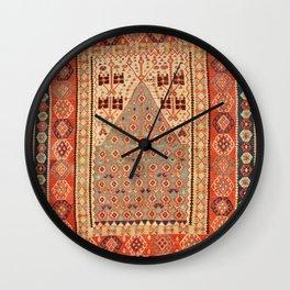 Antique Erzurum Turkish Kilim Rug Print Wall Clock