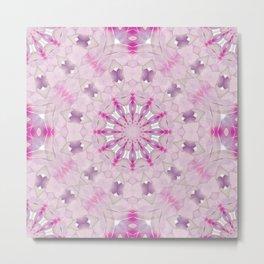 Delicate Lilac and Ultra Violet Floral Fantasy Mandala Metal Print