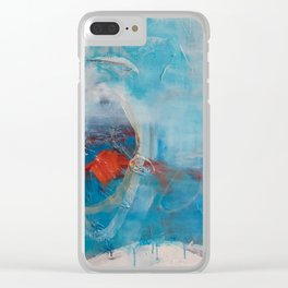 Disguised Blue Coral Abstract Contemporary Original Painting Clear iPhone Case