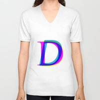 letter V-neck T-shirts featuring D Letter by Dizzy Moments