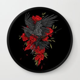 Raven with flowers Wall Clock