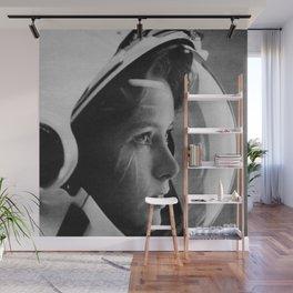 NASA Astronaut, Anna Fisher, black and white photograph Wall Mural