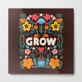 GROW floral Metal Print
