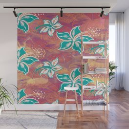 Teal Watercolor Hibiscus Jungle Print Wall Mural