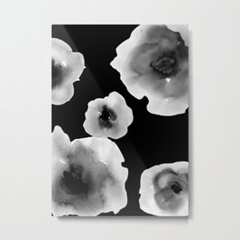 Black and White Flowers Metal Print