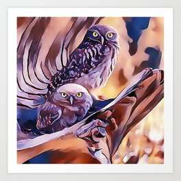 A Pair of Owls Art Print